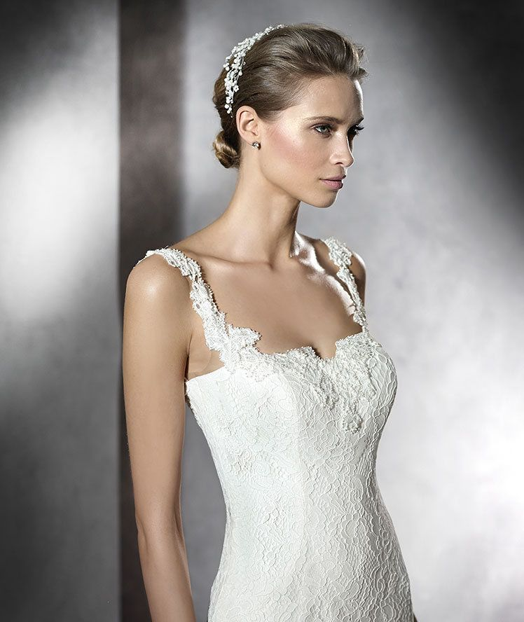 STYLE PRUVA 2016 PRONOVIAS Wedding Dress Mermaid Style In Lace With Straps Plunging V