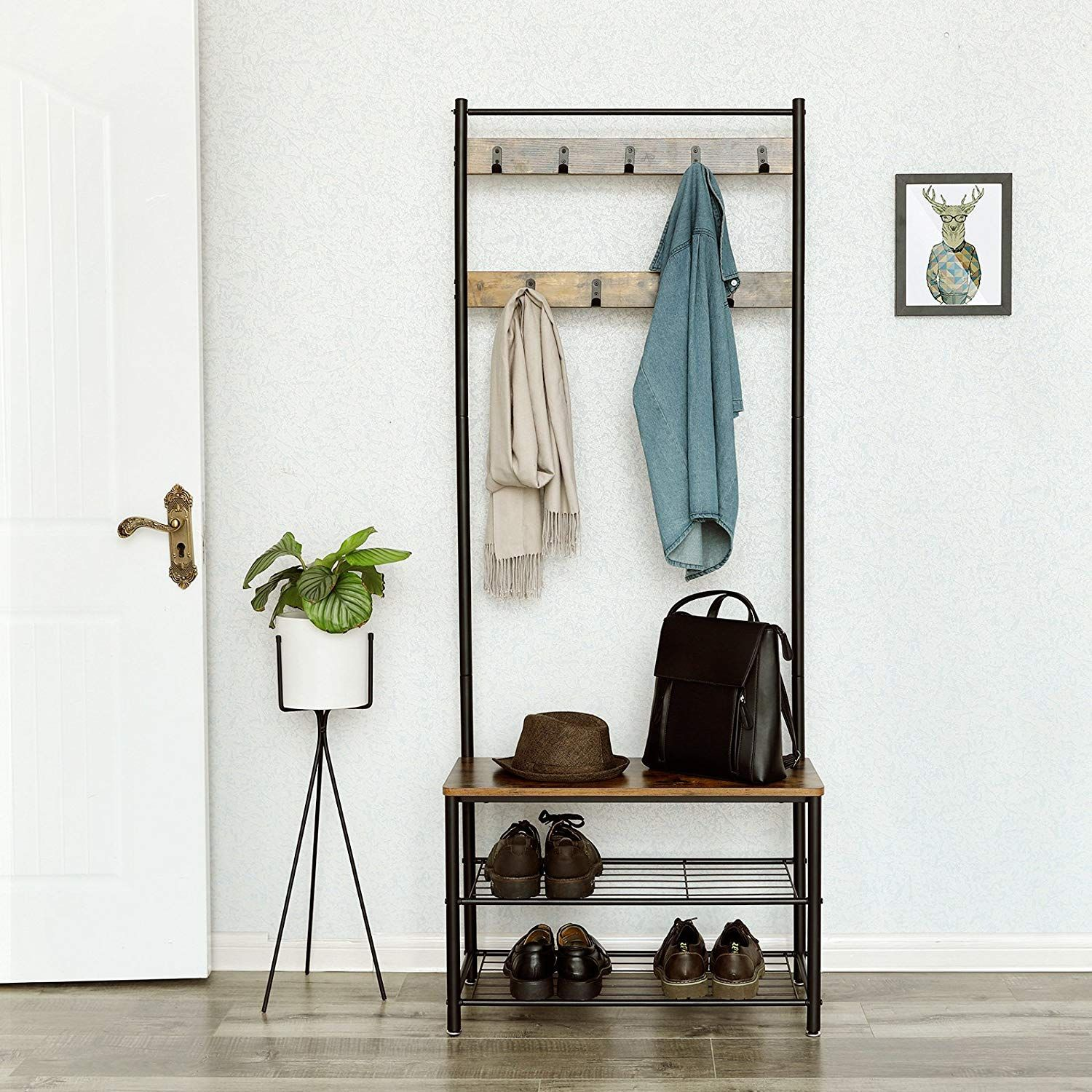Songmics Vintage Coat Rack With Hooks Hall Tree Entryway Shoe Bench Rack And Coat Stand Sto Hallway Coat Rack Shoe Rack Entryway Entryway Shoe Storage