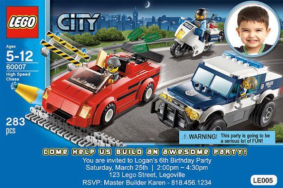 LEGOR City Birthday Party Invitations