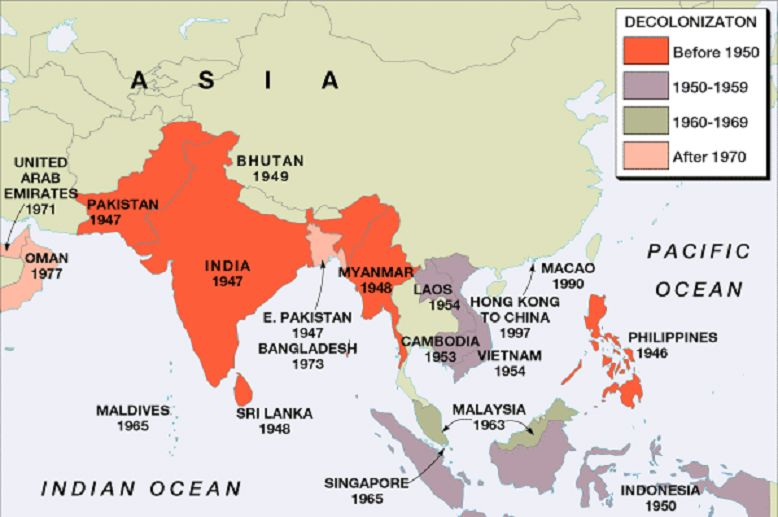 Map Of Asia 1960.Map Of Asia Showing The Year In Which Each Colony Got Freedom From