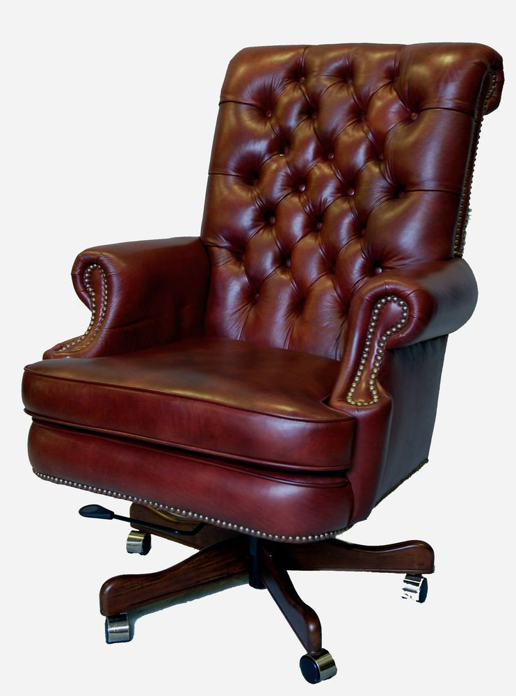 Large Genuine Leather Executive Office Desk Chair From Mahogany And More