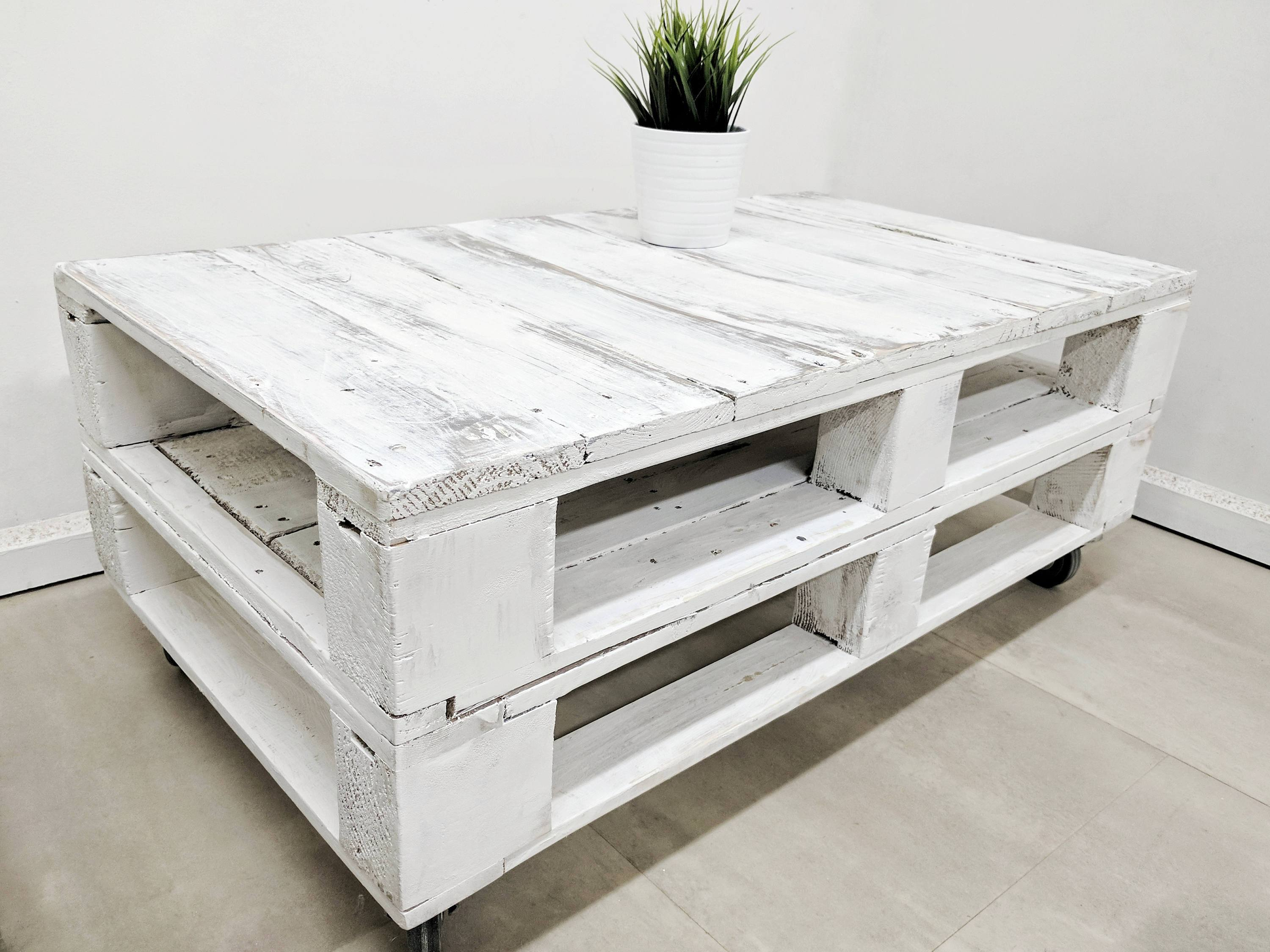 Distressed Pallet Coffee Table Lemmik In Aged White Finish Made Of