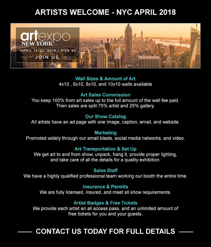 Artblend gallery call to artists exhibit with us at the worlds with us at the worlds largest art fair artexpo new york city april 2018 email michael joseph at mjartblend why you should exhibit with us it will solutioingenieria Choice Image