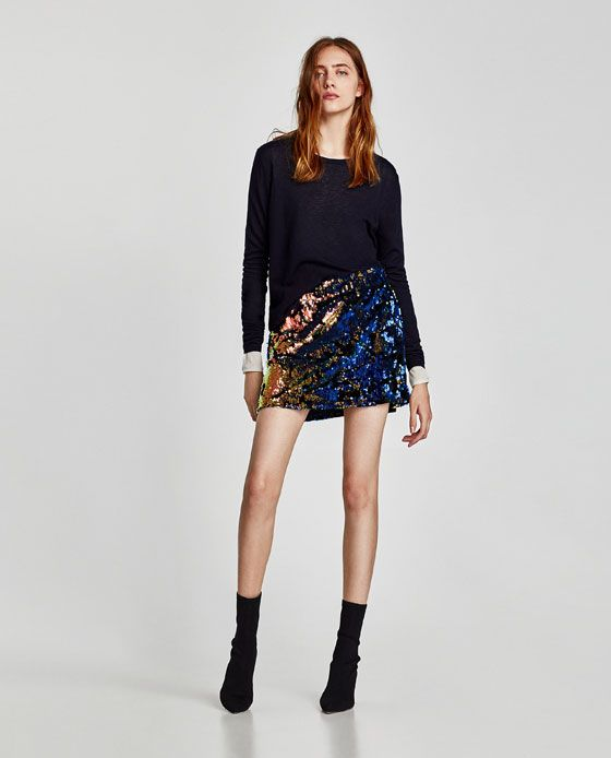 4abb15c73324 MINIFALDA LENTEJUELAS | Style | Mini skirts, Skirts, ZARA