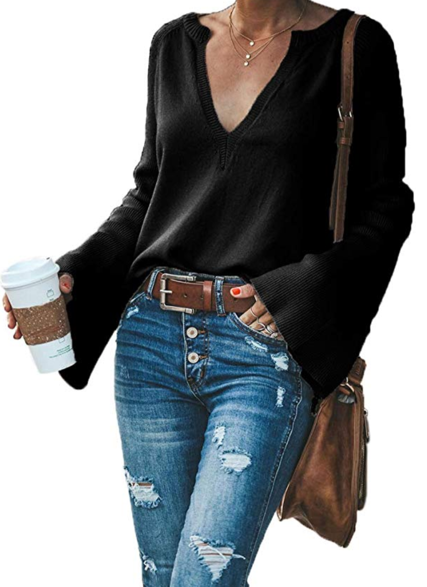 AMAZON SWEATERS UNDER 35 Long sleeve knit tops, Loose