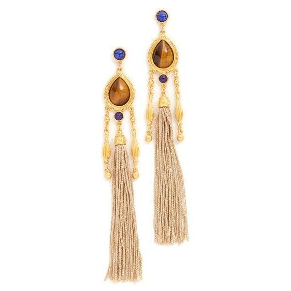 Ben-Amun Jasmine Earrings (14,600 INR) ❤ liked on Polyvore featuring jewelry, earrings, gold, long earrings, beaded jewelry, 14k jewelry, earring jewelry and bead jewellery