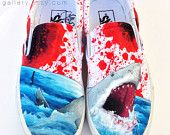 Photo of Custom Vans Hand Painted Shoes – Great White Shark Blood Spatter