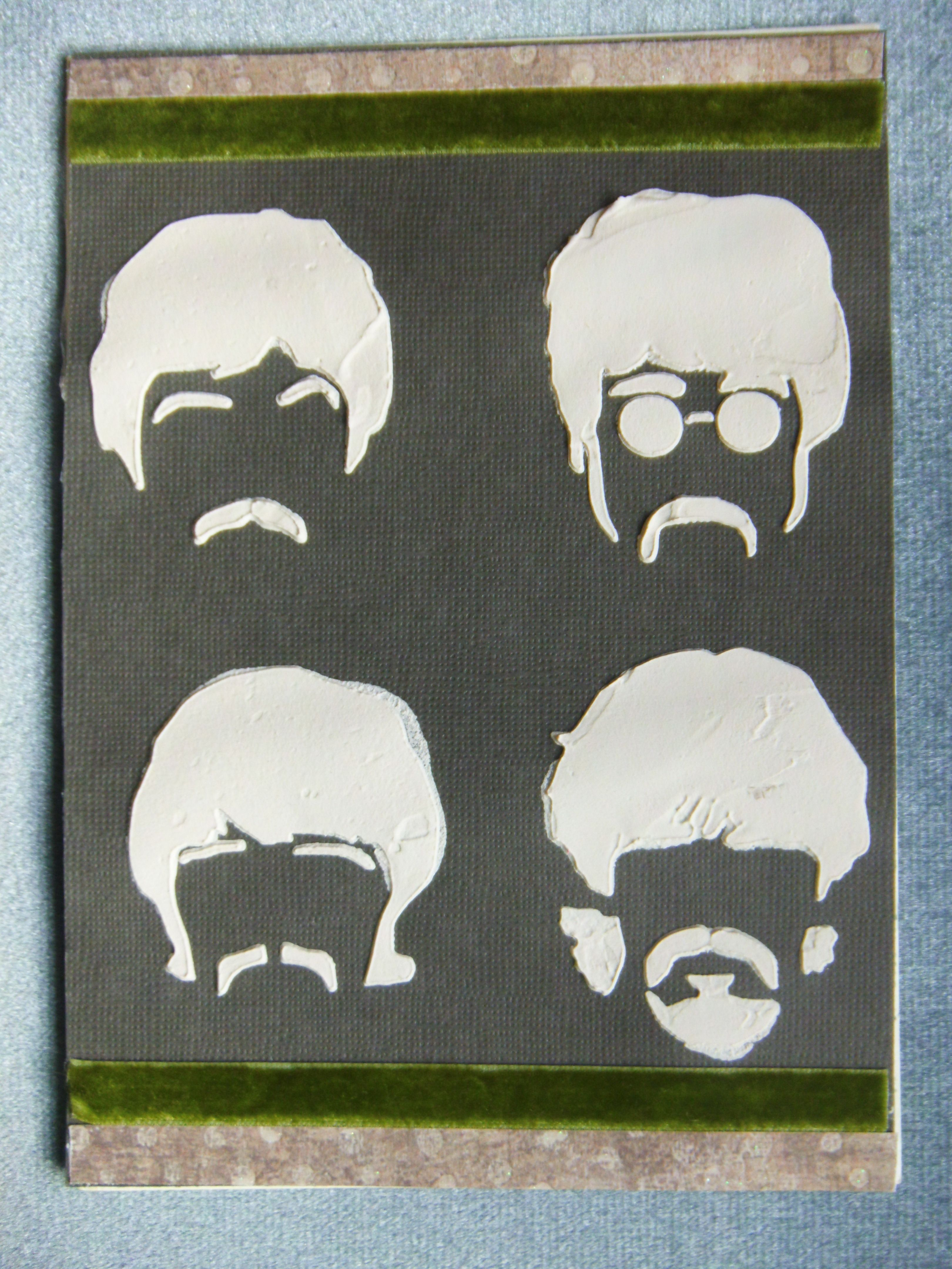 Beatles birthday card made with grunge paste and stencil first – Beatles Birthday Cards