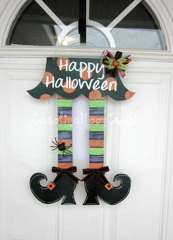 Witch Legs Door Decor, Witch Legs Wreath, Witch Legs Happy Halloween - door decoration halloween