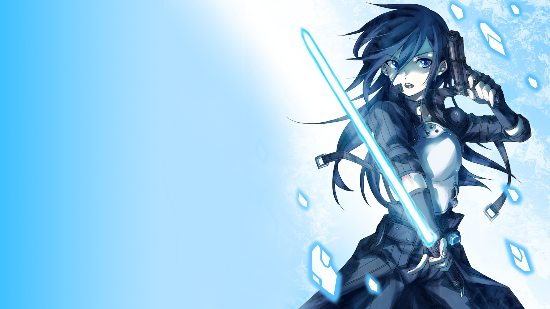 Anime Girl With Gun And Sword Wallpaper fitness