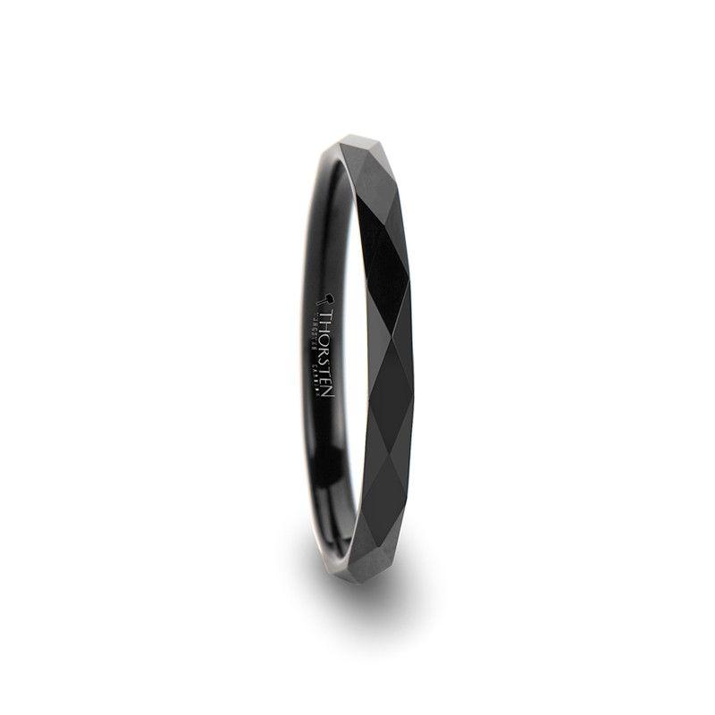 Hermosa Women S Diamond Faceted Black Tungsten Wedding Band Black Tungsten Rings Black Wedding Rings Black Rings