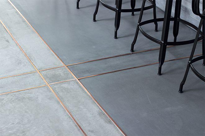 Concrete style. Tiles. Brass trim. Kitchen floor | FlooRs ...