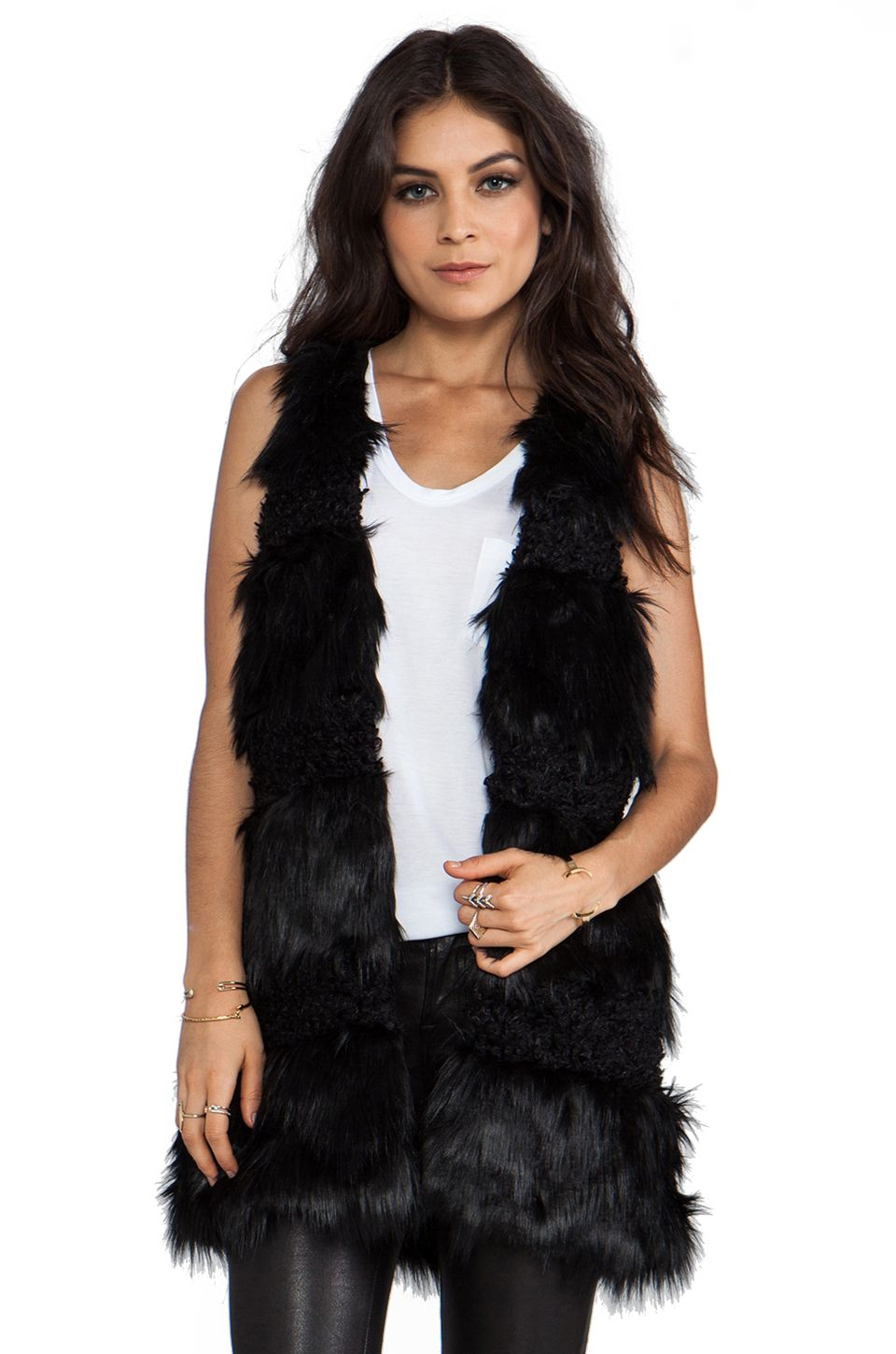 Anna Sui RUNWAY Faux Fur Combo Vest in Black from REVOLVEclothing