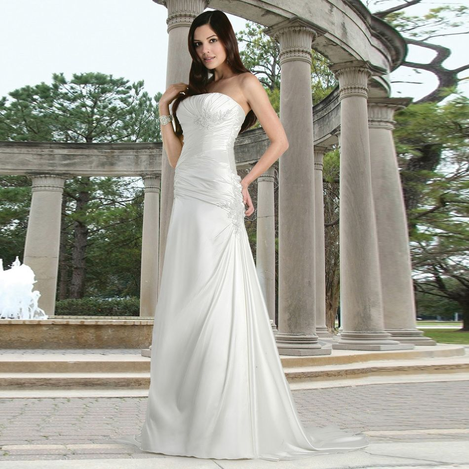 Pleated wedding dress  Alice Best Seller High Quality Tall Appliques Pleated Satin Wedding