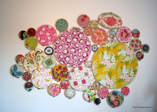 mommy is coo coo Five Embroidery Hoop Wall Art Displays - I think I will start a collection of my favorite fabrics for this. Imagine it in a childs room ... & mommy is coo coo: Five Embroidery Hoop Wall Art Displays - I think I ...