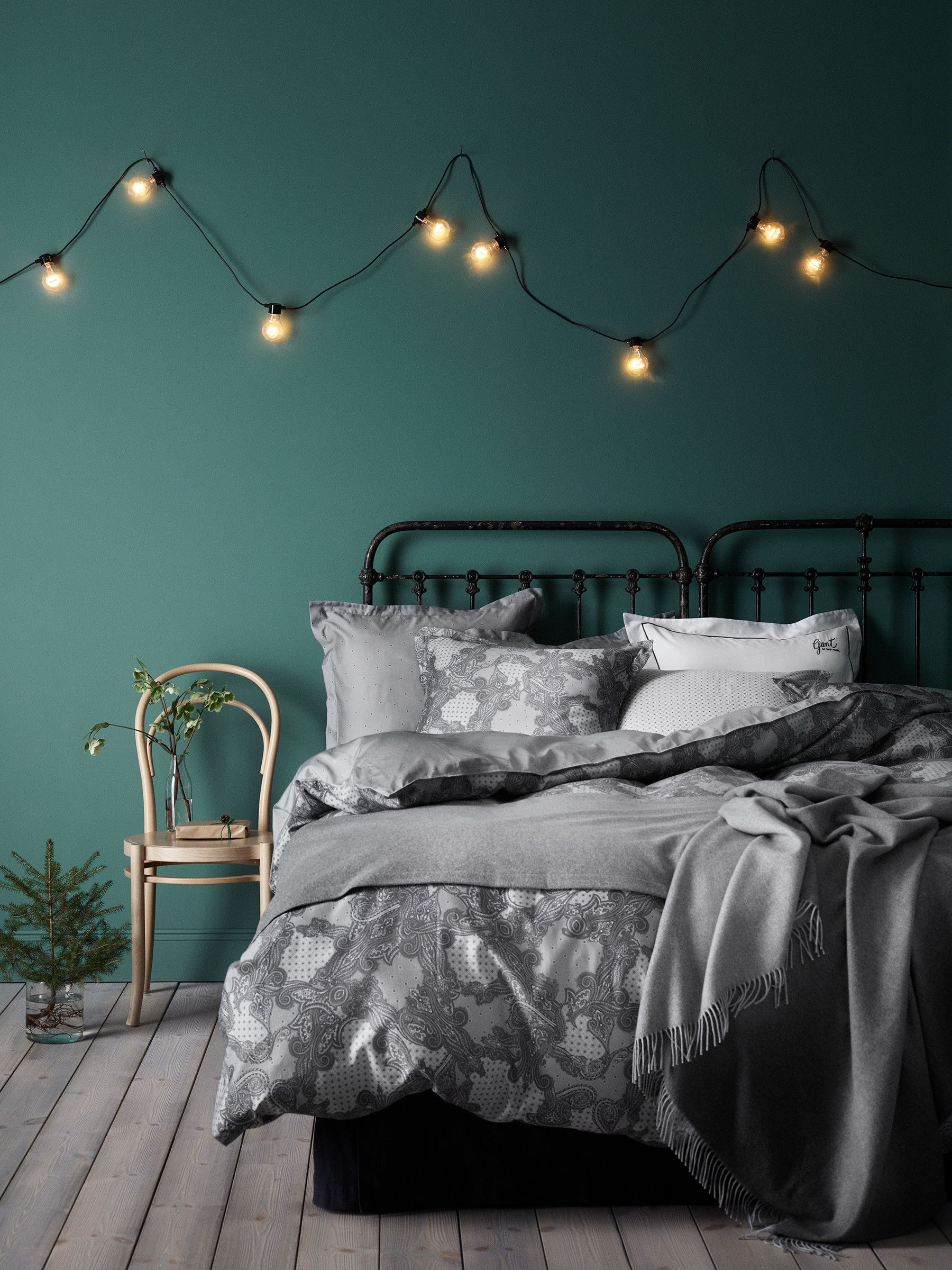 Green and grey bedroom | residential interiors | Grey green ...