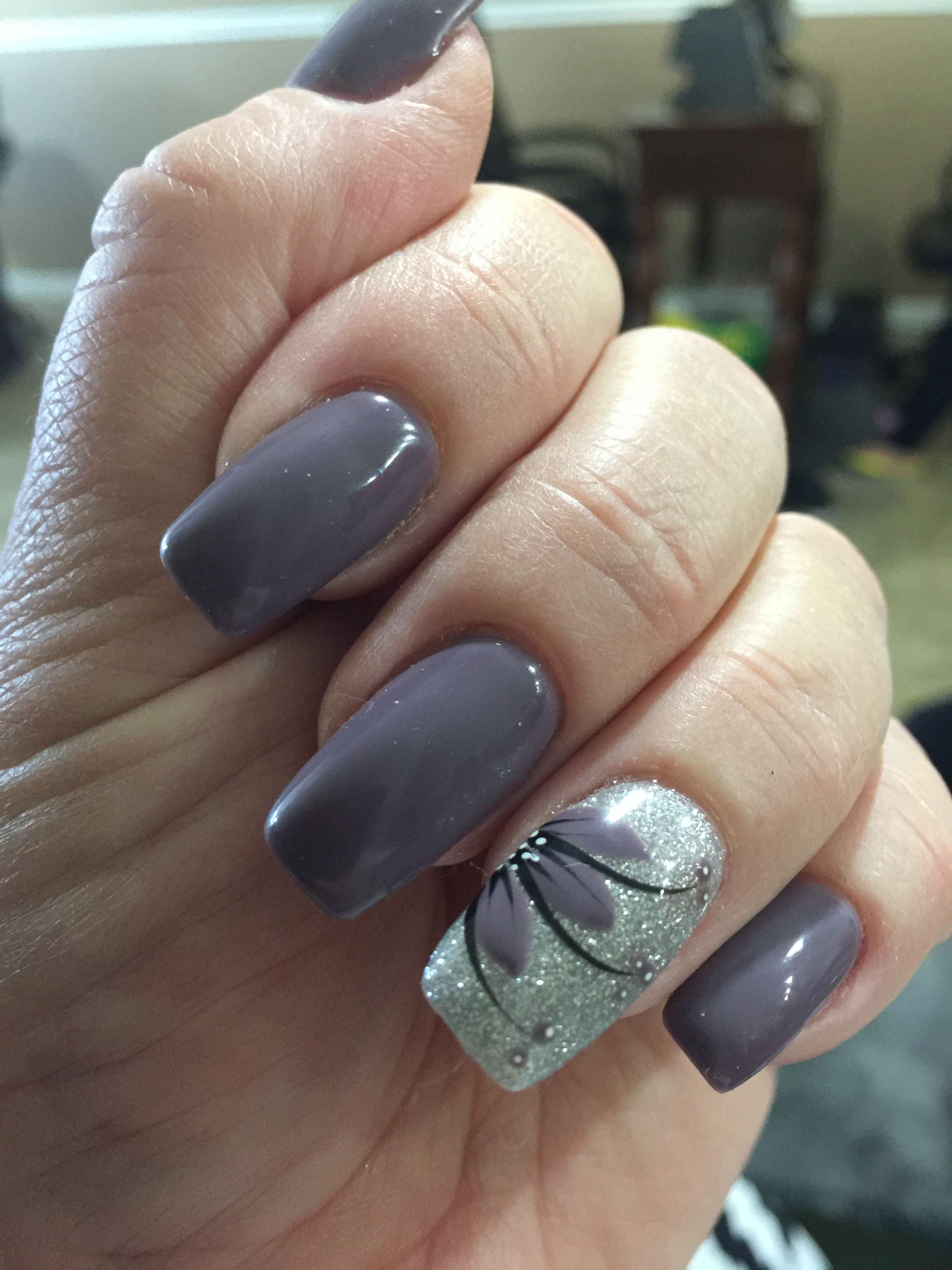 Plum gel nail color with flower design | Nail Art | Pinterest