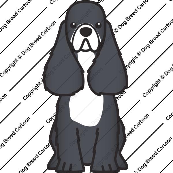 American Cocker Spaniel Black Edition Dog Breed Cartoon