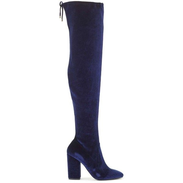0bb59723c93b Miss Selfridge KOKO Velvet Tie Over The Knee Boots ( 88) ❤ liked on  Polyvore featuring shoes