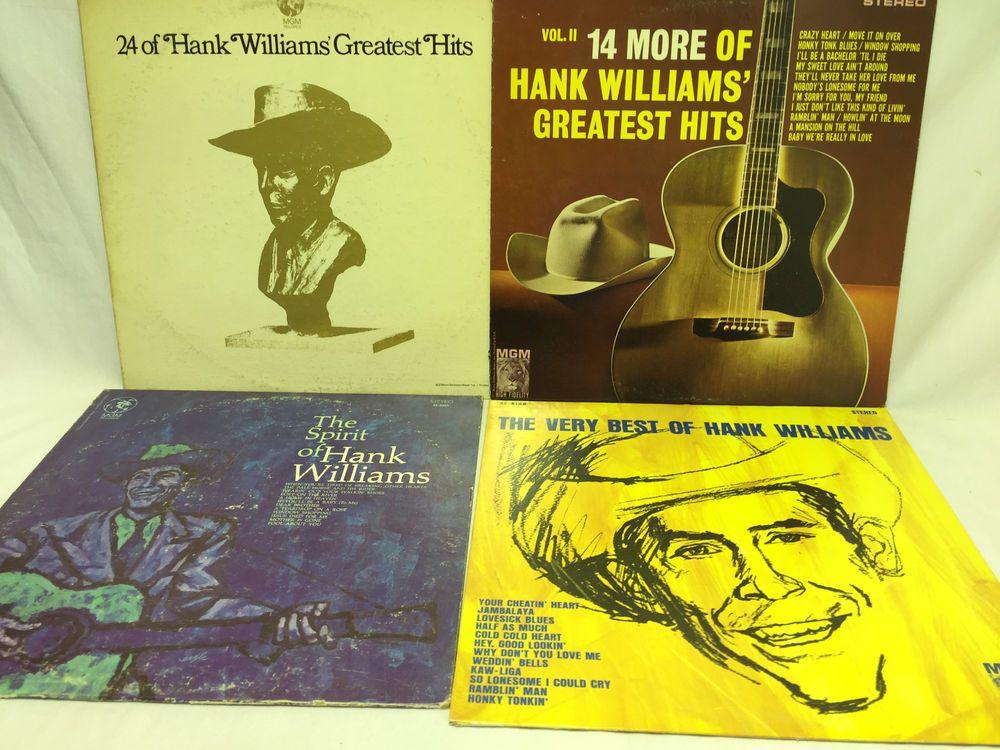 Hank Williams Lot Of 4 Vinyl Records Greatest Hits Spirit Of Very Best Of Vol 2 Hank Williams Vinyl Records Greatest Hits
