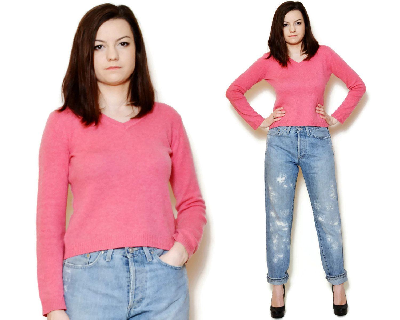 Cashmere sweater long sleeve fluffy babydoll short women school ...