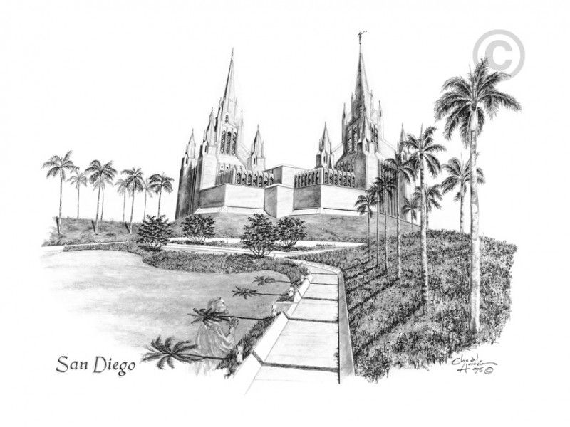 San Diego California Temple Drawing | Architectural Drawing - Pen ...