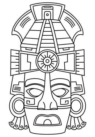 Mascara De Cara Maya Dibujo Para Colorear Maya Dibujos Mascaras Mayas Dibujos Prehispanicos