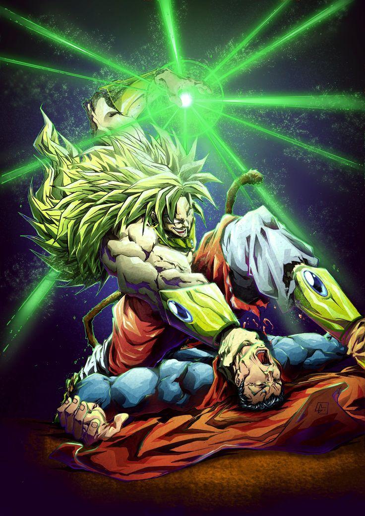 Super Sayian 3 Broly vs Super Man Dragon ball artwork