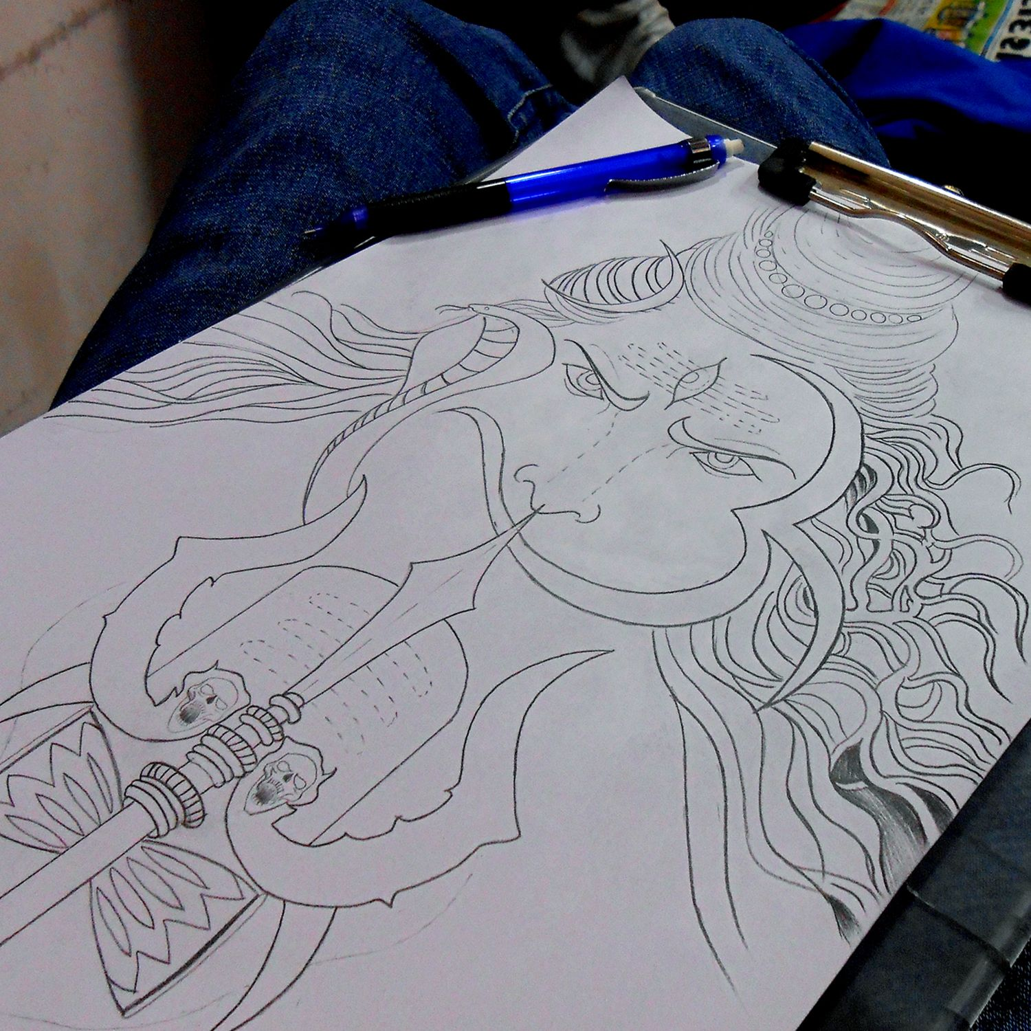 Working on custom lord shiva design finished for today will add rudraksha