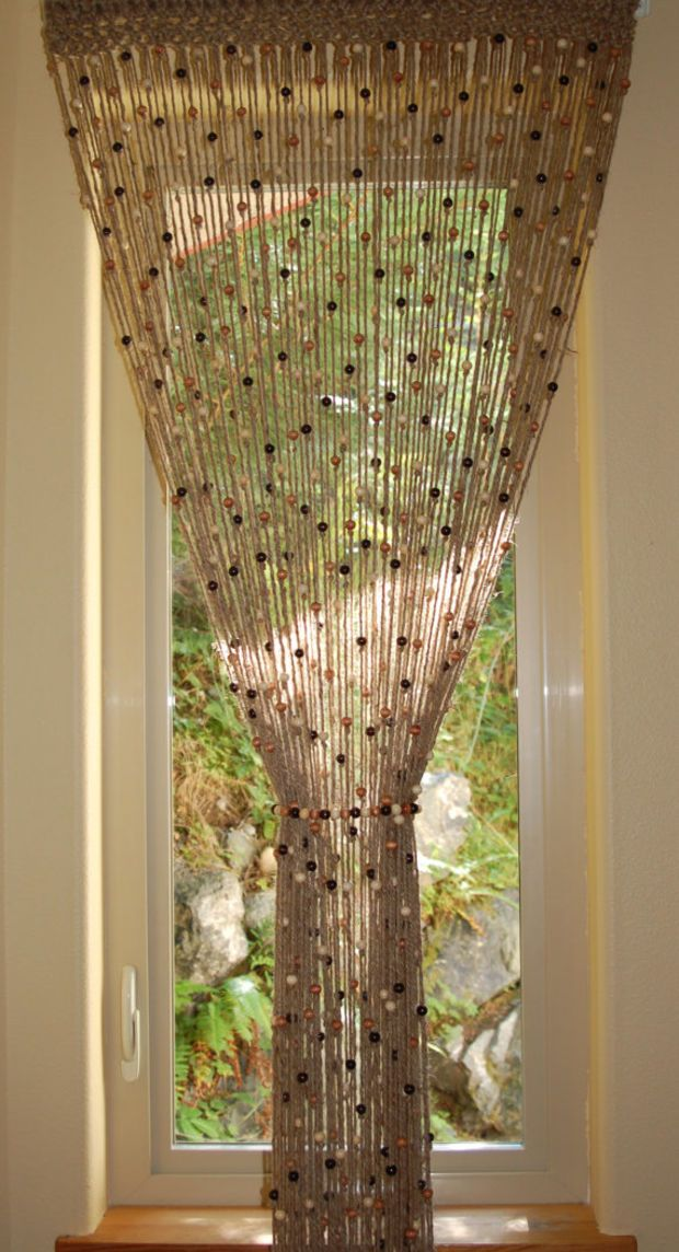 Natural Jute Crochet Curtain Door Window With Wooden Beads