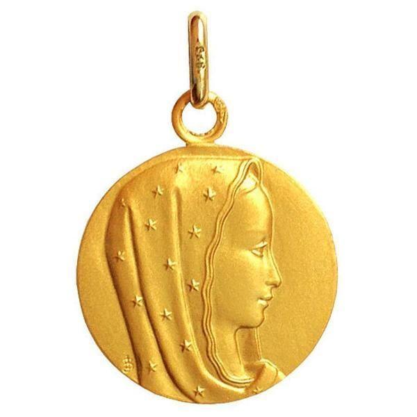 Médaille Vierge au voile étoilé (or jaune 9ct) (Mon Premier Bijou) sur PremierCadeau.com