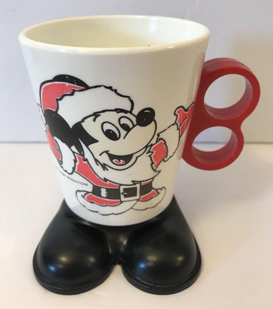 Vintage MICKEY MOUSE Santa Claus Plastic Mug Walt Disney