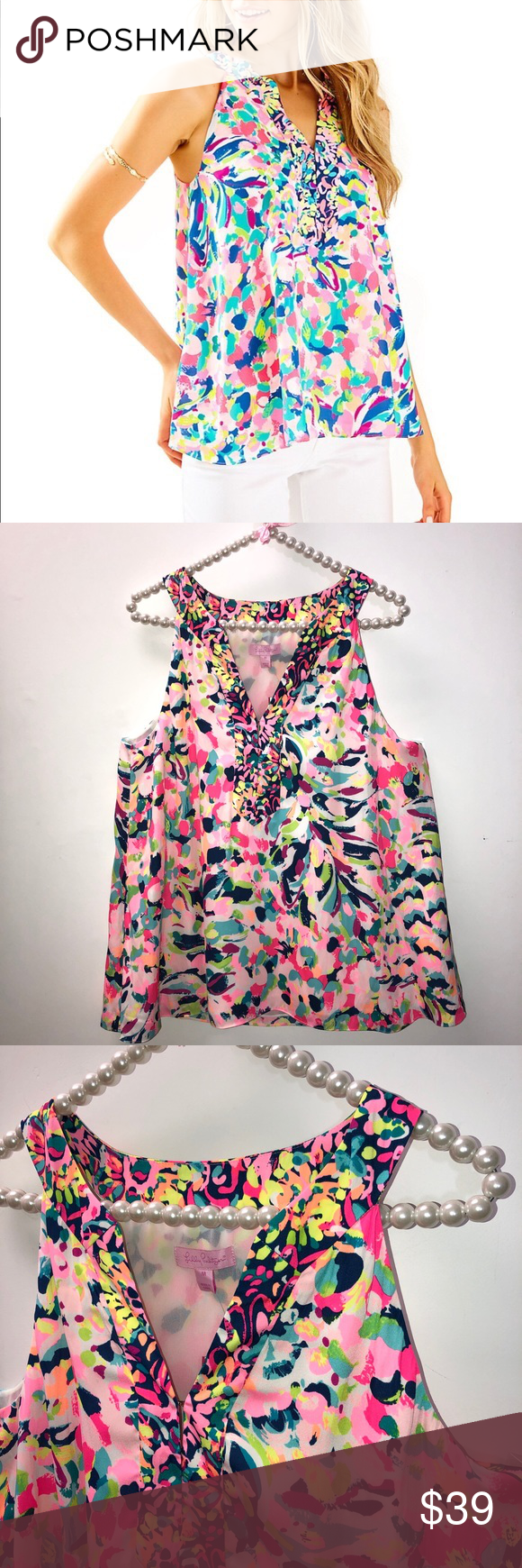 53ad502a8b2031 Lilly Pulitzer Sleeveless Achelle Top M Excellent condition- no signs of  wear. Nice Lilly