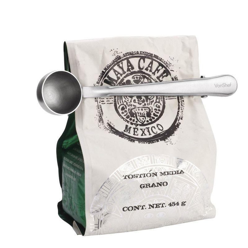 Nova marca Durável Café Chá Colher De Medição de Aço Inoxidável Com Saco Portátil Clipe L1