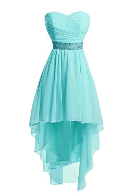 Uryouthstyle Hi-lo Homecoming Dresses Strapless Shinining Belts Bridemaid Gowns US Size 2 Aqua