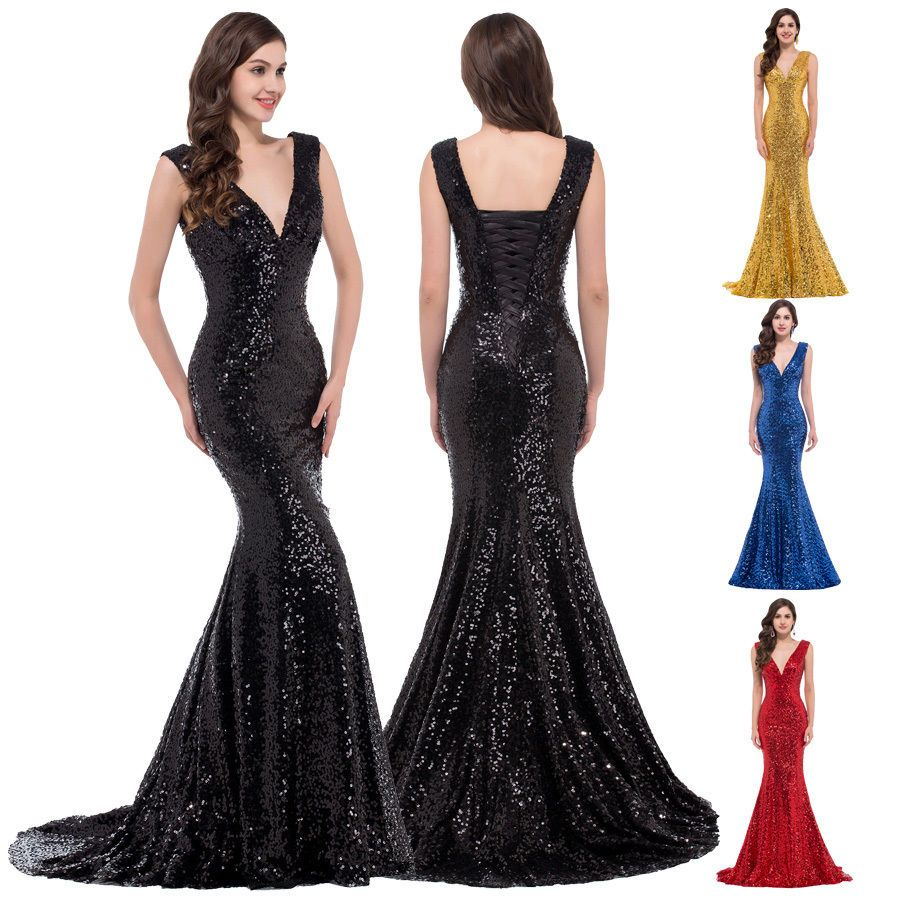 Gk long prom dresses v neck sequins mermaid evening party bridesmaid