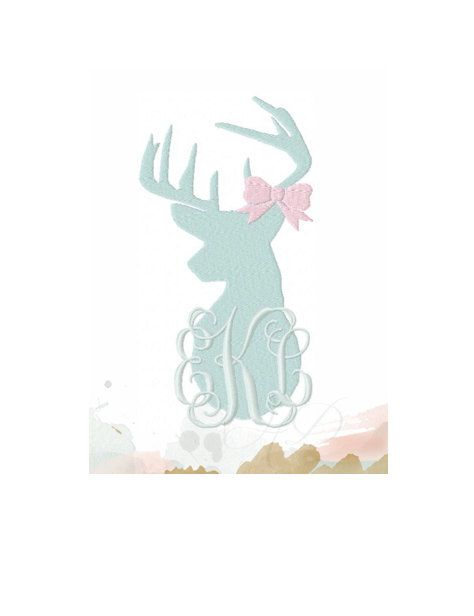 2c3ce00c67176 Buck and Bow Antler Monogram Embroidery Design Machine