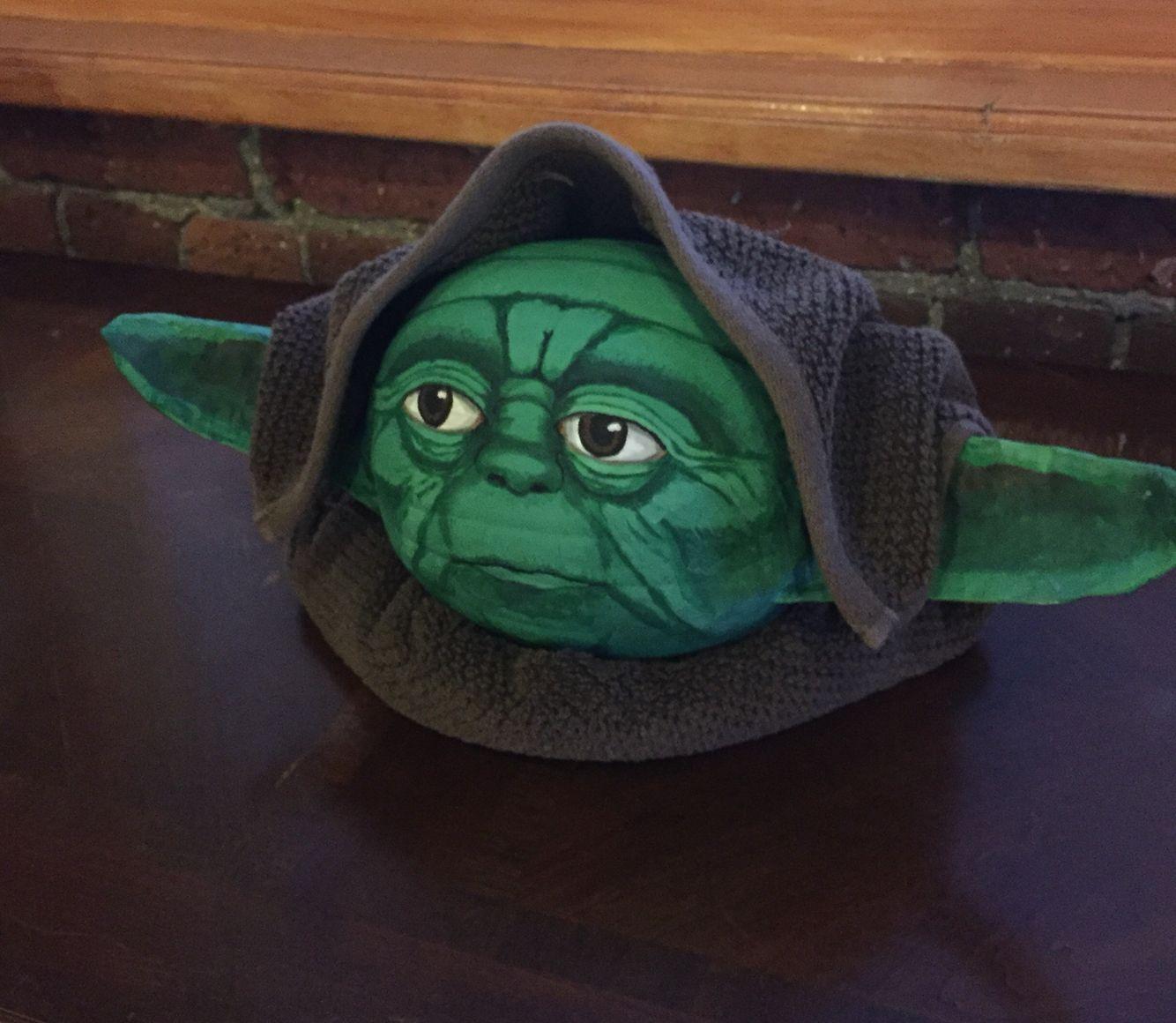Shop Towels Paper Mache: Painted Yoda Pumpkin For 2015 Work Contest! Paper Mache