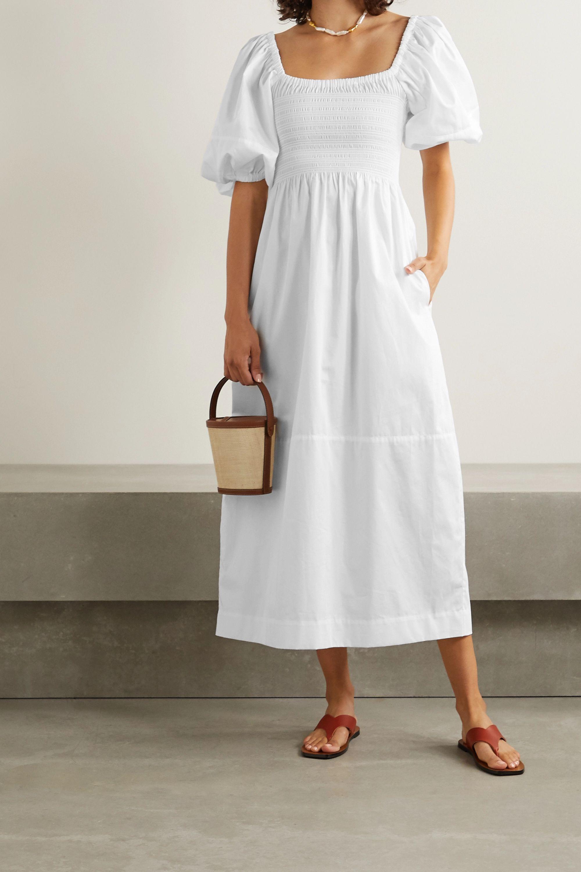 White Daisy Smocked Cotton Poplin Midi Dress La Ligne Puff Sleeve Dresses Cotton Midi Dress Dresses With Sleeves [ 3000 x 2000 Pixel ]