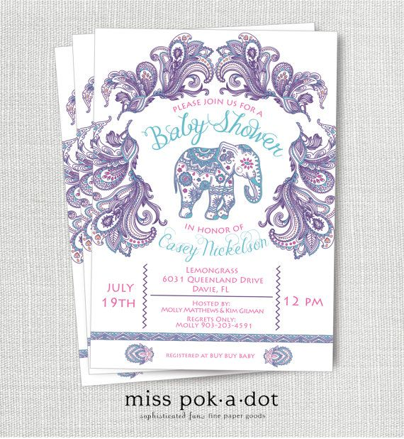 Indian Elephant Baby Shower Invitation Printable Pink and Purple