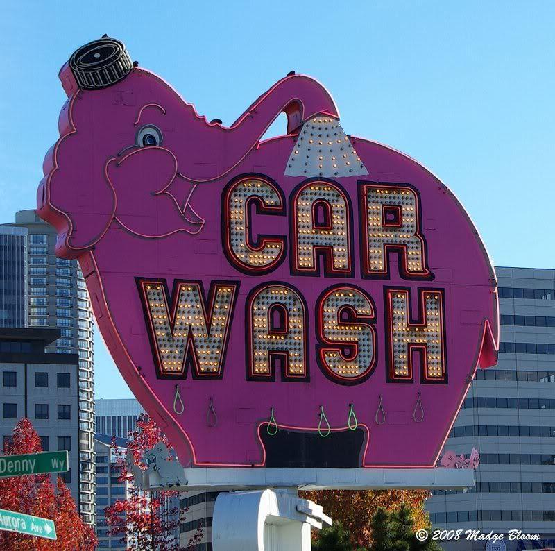 Iconic Elephant Car Wash sign in Seattle, Washington (With