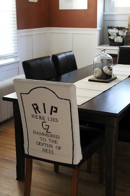 DIY Tutorial Diy Dining Chair Slipcovers Halloween Themed Gravestone Room Covers