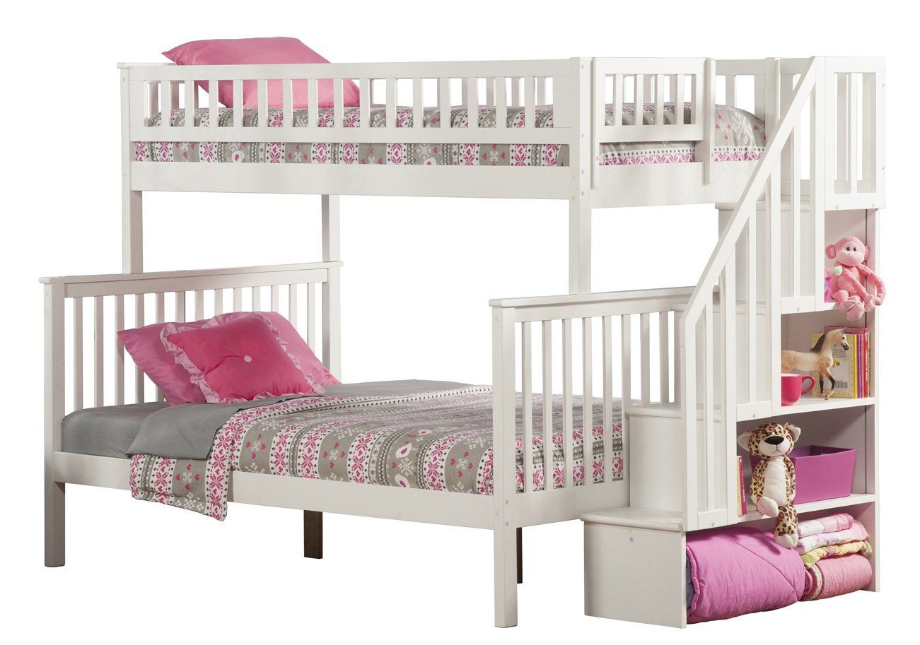 Amazon Com Woodland Staircase Bunk Bed White Twin Over Full Kitchen Amp Dining Bunk Bed With Trundle Staircase Bunk Bed Bunk Beds