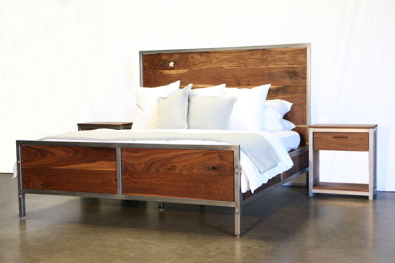 walnut industrial bedroom set  furniture bedroom set
