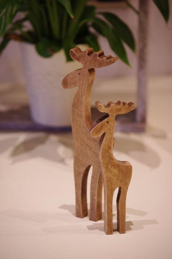 Wooden moose, Wooden Reindeer, deer pair, rustic moose, wooden