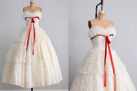vintage 1950s dress  strapless dress  wedding by PickledVintage, $548.00