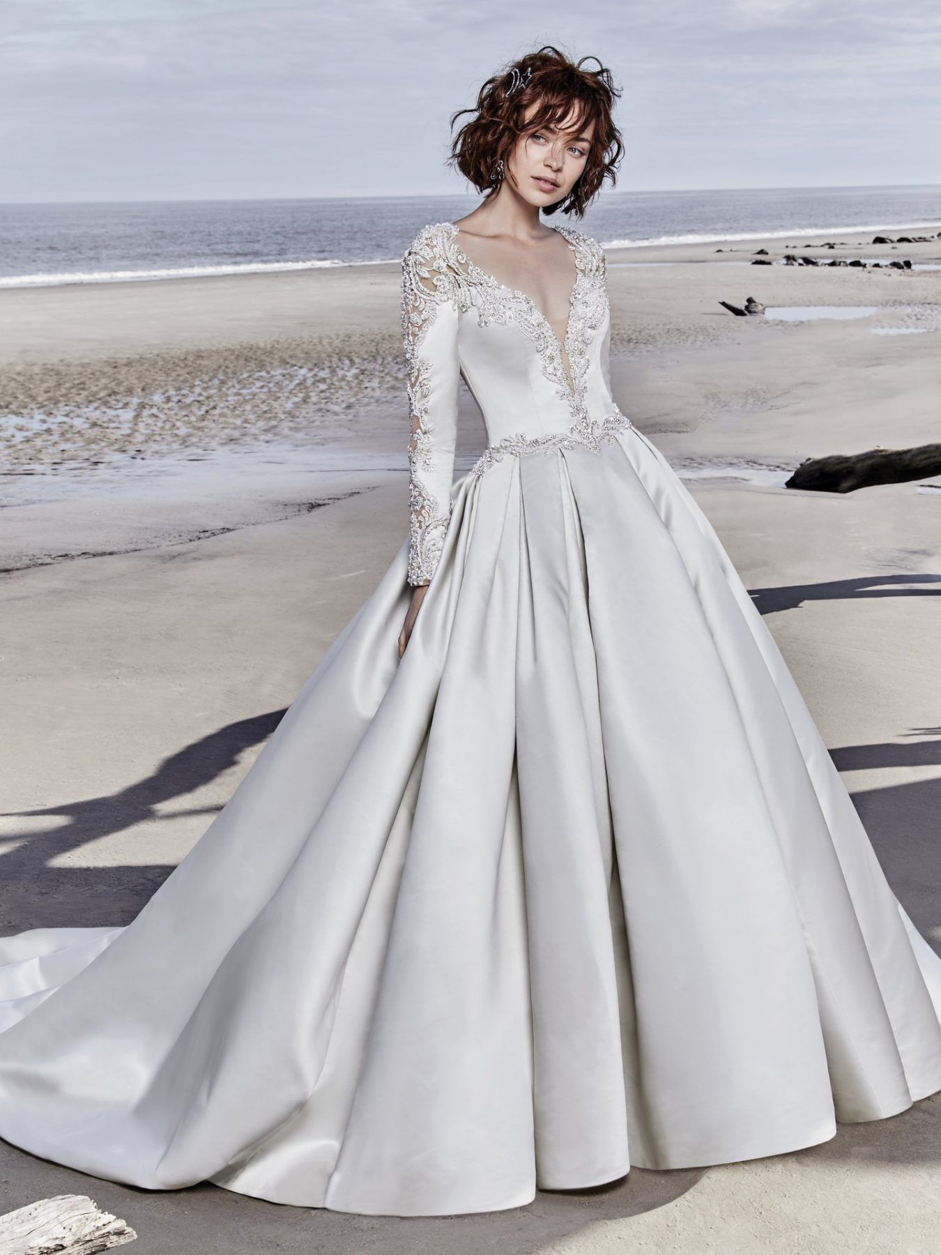 25603bb48d761 Long Sleeved V-neck Crystaled Lace And Satin Ball Gown Wedding Dress ...