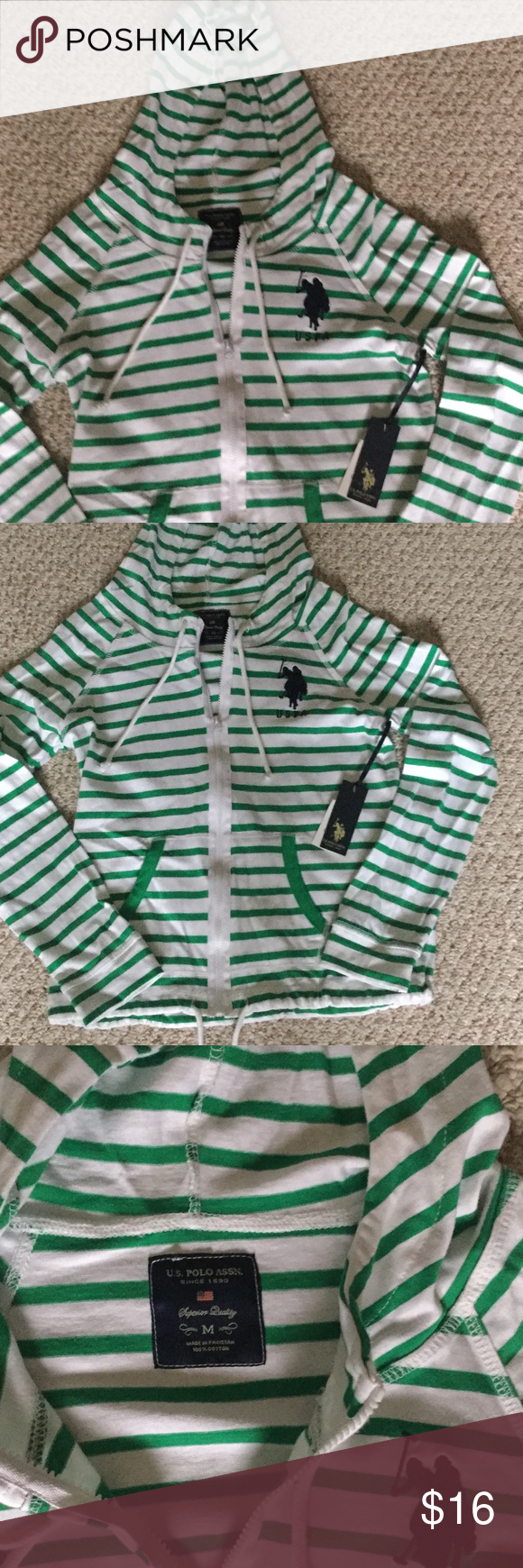 US Polo Assn zip top. US Polo hooded zipper light weight jacket.  White and green stripes.  Tie hood and bottom.  2 pockets. us polo Tops Sweatshirts & Hoodies