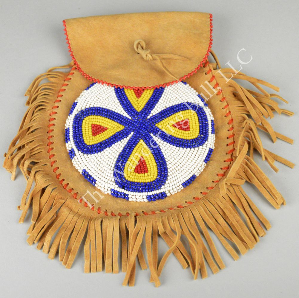 Cree Pouch with Beaded Rosette - The Wandering Bull, LLC