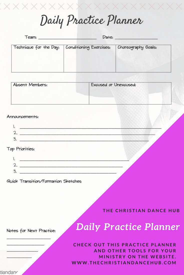 Daily practice planner, dance ministry, ministry leaders